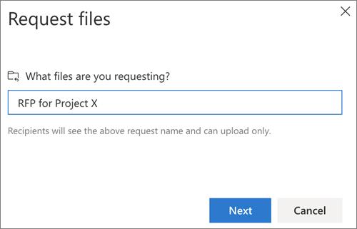 File request in OneDrive
